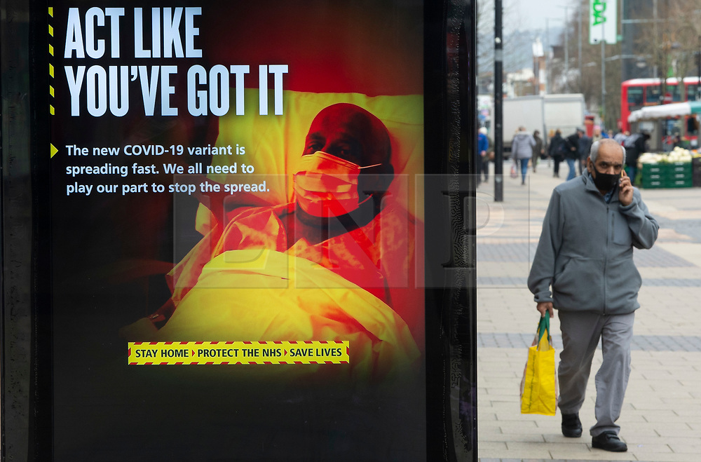 © Licensed to London News Pictures 22/02/2021.        Bexleyheath, UK. Government covid-19 advertising in Bexleyheath, South East London today during a third national coronavirus lockdown. Non-essential shops and schools could open in weeks if the Covid-19 infection rate keeps dropping. Photo credit:Grant Falvey/LNP