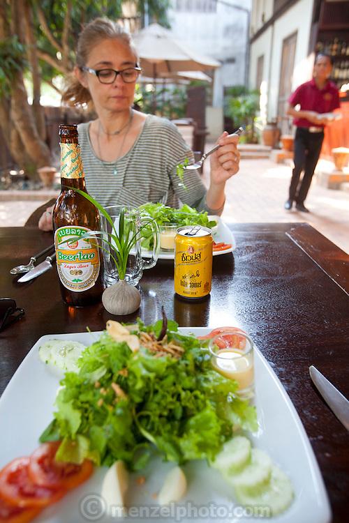 Lunch at the 3 Nagas Restaurant in Luang Prabang, Laos.