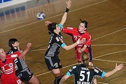 Andrea Lekic and Alja Jankovic at handball game ZRK Celje Celjske Mesnine vs RK Krim Mercator in final match of Slovenian Handball Cup,  on April 6, 2008 in Arena Golovec, Celje, Slovenia. Krim won the game 31:21 and became Cup Winner.  (Photo by Vid Ponikvar / Sportal Images)