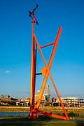 "Photograph of Mark di Suvero's ""Big Mo"" sculpture; Tom Hanafan River's Edge Park, Council Bluffs, Iowa, USA."