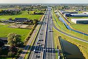 Nederland, Gelderland, Veenendaal, 24-10-2013. Autosnelweg A12 tussen Ede en Veenendaal, knooppunt Maanderbroek (A30).<br /> Motorway A12 near Ede, central Netherlands. <br /> luchtfoto (toeslag op standaard tarieven);<br /> aerial photo (additional fee required);<br /> copyright foto/photo Siebe Swart.