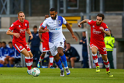 Stefan Payne of Bristol Rovers is marked by Romain Vincelot of Crawley Town  - Mandatory by-line: Ryan Hiscott/JMP - 14/08/2018 - FOOTBALL - Memorial Stadium - Bristol, England - Bristol Rovers v Crawley Town - Carabao Cup