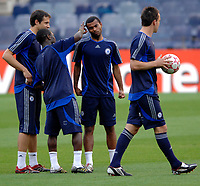 Photo: Richard Lane.<br />Chelsea training session. UEFA Champions League. 30/10/2006. <br />Chelsea captain Ashley Cole has his ears flicked by team mates  during a training ground game.