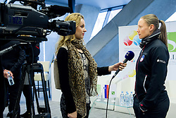Sanja Modric and Tina Pisnik during press conference of Team Slovenia before playing in Zone Group 1 of Fed Cup tournament in Budapest on January 29, 2014 in BTC City, Ljubljana, Slovenia. Photo by Vid Ponikvar / Sportida