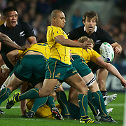 Will Genia, Australia, kicks during the New Zealand V Australia Semi Final match at the IRB Rugby World Cup tournament, Eden Park, Auckland, New Zealand, 16th October 2011. Photo Tim Clayton...