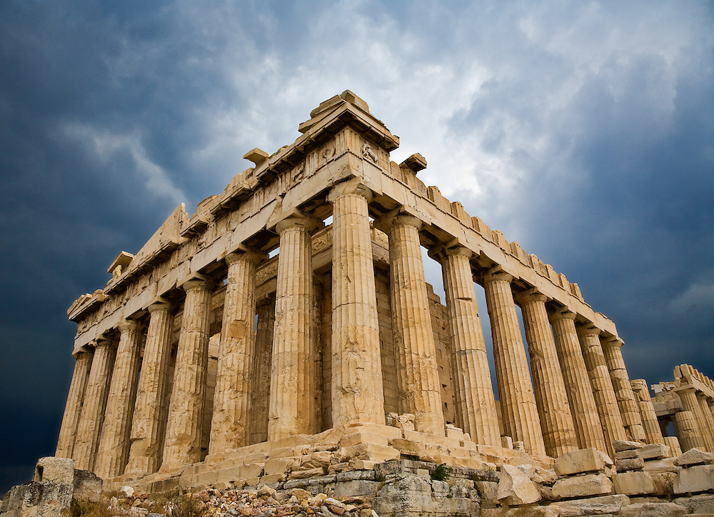 The Parthenon atop the Acopolis in Athens Greece is one of the most recognizable structures in the world construction begun after the Battle of Marathon 490-88 BC as a sanctuary for Athena Parthenos