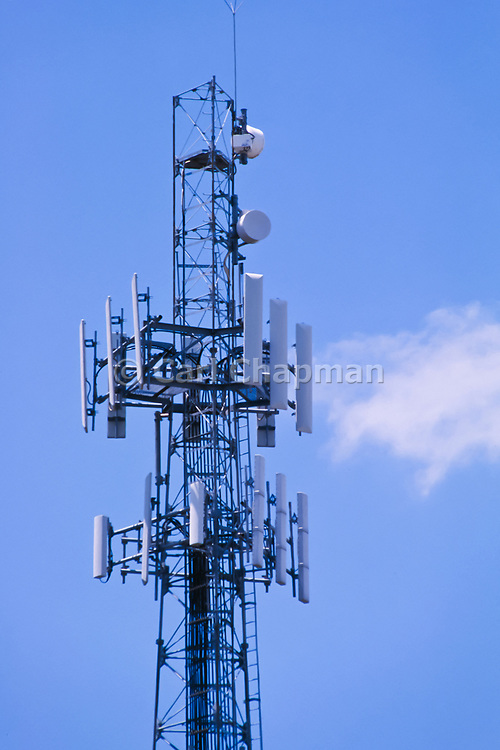 GSM and CDMA cellsite antenna array for the cellular telephone system on a tower - Brisbane, Australia <br /> <br /> Editions:- Open Edition Print / Stock Image