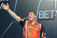 Mensur Suljovic takes to the stage during the BetVictor World Matchplay Darts 2018 sem final at Winter Gardens, Blackpool, United Kingdom on 28 July 2018. Picture by Shane Healey.