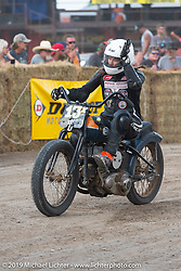 20th Century Racing's Brittney Olsen  at the Hooligan races on the temporary track in front of the Sturgis Buffalo Chip main stage during the Sturgis Black Hills Motorcycle Rally. SD, USA. Wednesday, August 7, 2019. Photography ©2019 Michael Lichter.