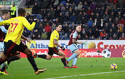 Burnley's Scott Arfield (right) /scores his side's first goal of the game during the Premier League match at Turf Moor, Burnley.