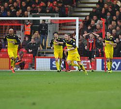 Watford's Hector Bellerin celebrates his goal. - Photo mandatory by-line: Alex James/JMP - Tel: Mobile: 07966 386802 18/01/2014 - SPORT - FOOTBALL - Goldsands Stadium - Bournemouth - Bournemouth v Watford - Sky Bet Championship