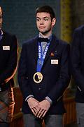 Officiele Huldiging van de Olympische medaillewinnaars Sochi 2014 / Official Ceremony of the Sochi 2014 Olympic medalists.<br /> <br /> Op de foto:  Sjinkie Knegt