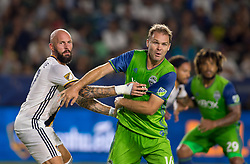 July 29, 2017 - Carson, CA, USA - Carson, CA - Saturday July 29, 2017: Jelle Van Damme, Chad Marshall during a Major League Soccer (MLS) game between the Los Angeles Galaxy and the Seattle Sounders FC at StubHub Center. (Credit Image: © Michael Janosz/ISIPhotos via ZUMA Wire)