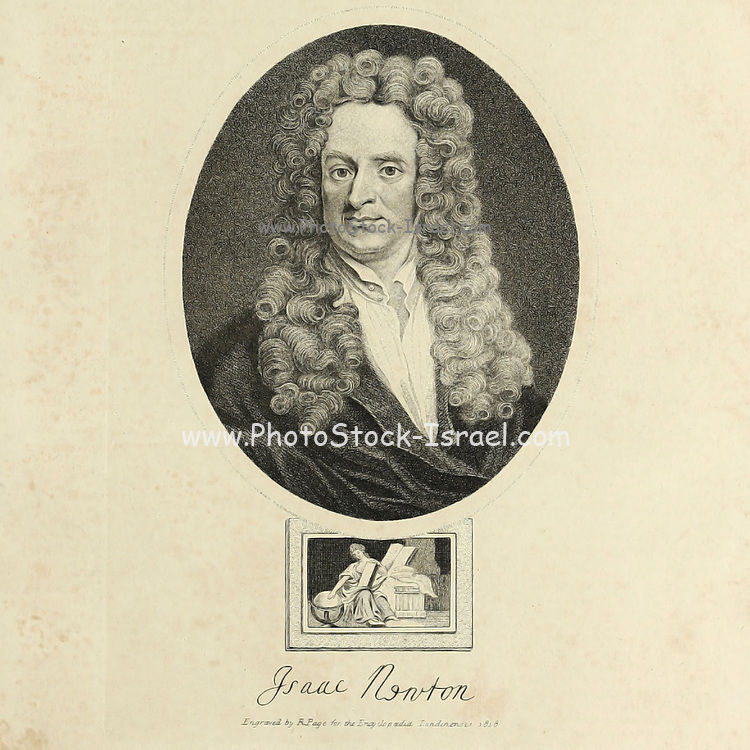 Portrait of Sir Isaac Newton, English physicist, mathematician, astronomer, philosopher. Newton's (1643-1727) discoveries were prolific and exerted a huge influence on science and thought. His theories of gravity and his three laws of motion were outlined in his greatest work, Philosophiae Naturalis Principia Mathematica, (1687) and he is credited with discovering differential calculus. He also formulated theories regarding optics and the nature of light that led to him building the first reflecting telescope. Knighted by Queen Anne in 1705, Newton is buried in Westminster Abbey, London. Copperplate engraving From the Encyclopaedia Londinensis or, Universal dictionary of arts, sciences, and literature; Volume XVII;  Edited by Wilkes, John. Published in London in 1820