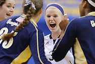 Junior Jordan McCullers reacts after a point during Gerogia Tech's first set against the Baylor Bears. The Yellow Jackets lost 3-0 to the Baylor Bears in the first round of the NCAA tournament at Pauley Pavilion in Los Angeles on Friday, Dec. 4, 2009.
