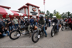 Leaving Harley-Davidson of Rochester, New Hampshire for a hosted lunch during the Motorcycle Cannonball coast to coast vintage run. Stage-1 (145-miles) from Portland, Maine to Keene, NH. Saturday September 8, 2018. Photography ©2018 Michael Lichter.