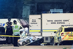 © Licensed to London News Pictures . FILE PICTURE DATED 23/05/2017 as Manchester prepares to mark a year since the Manchester Arena terror attack . Manchester, UK. The Royal Logistic Corps Bomb Disposal team deploy a bomb disposal robot outside the Manchester Arena . Police and other emergency services are seen near the Manchester Arena after Salman Abedi murdered 22 and injured dozens more at an Ariana Grande concert at Manchester Arena. Photo credit : Joel Goodman/LNP