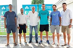 Miha Mlakar, Aljaz Kos, Đenio Zadković, Blaz Rola, Blaz Kavcic and Greegor Krusic during press conference of Tenis Slovenija, on August 11, 2020 in Portoroz / Portorose, Slovenia. Photo by Vid Ponikvar / Sportida