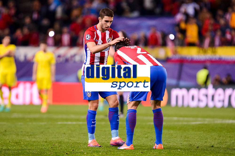 Atletico de Madrid's player Sime Vrsaljko and Diego Godín celebrating the victory during a match of UEFA Champions League at Vicente Calderon Stadium in Madrid. November 01, Spain. 2016. (ALTERPHOTOS/BorjaB.Hojas)