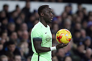 Bacary Sagna of Manchester City looks to take a throw in. Capital one cup semi final 1st leg match, Everton v Manchester city at Goodison Park in Liverpool on Wednesday 6th January 2016.<br /> pic by Chris Stading, Andrew Orchard sports photography.
