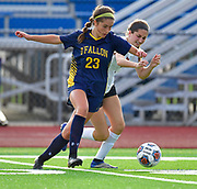 OFallon midfielder Becca Koenig (left) and Edwardsville midfielder Anna Singh vie for the ball. OFallon defeated Edwardsville in a girls soccer playoff game at OFallon High School in OFallon, IL on Tuesday June 8, 2021. <br /> Tim Vizer/Special to STLhighschoolsports.com.