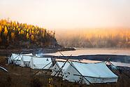 Fishing camp of the First Nation of NaCho Nyak Dun at Fraser Falls on the Stewart River, Yukon Terri
