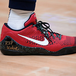 Jan 26, 2020; New Orleans, Louisiana, USA;  A detail of sneakers worn by New Orleans Pelicans guard Lonzo Ball with a tribute inscription to former Los Angeles Lakers star Kobe Bryant whom died in a helicopter crash Sunday morning prior to tip off against the Boston Celtics at the Smoothie King Center. Mandatory Credit: Derick E. Hingle-USA TODAY Sports