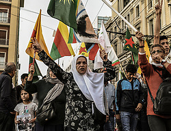"""Kurds living in Greece during a protest near the Turkish embassy in Athens, on October 12, 2019. Turkey launched an assault on Kurdish forces in northern Syria with air strikes and explosions reported along the border. President Recep Tayyip Erdogan announced the start of the attack on Twitter, labelling it """"Operation Peace Spring"""".<br /> <br /> Pictured: <br /> Dimitris Lampropoulos  