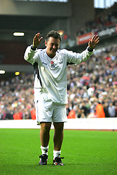 LIVERPOOL, ENGLAND - SUNDAY MARCH 27th 2005: Celebrity XI's Shane Ritchie applauds the Kop after the Tsunami Soccer Aid match at Anfield. (Pic by David Rawcliffe/Propaganda)