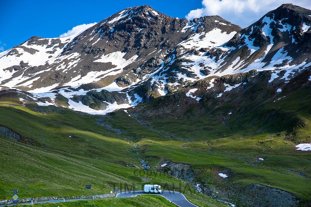 Touring RV motorhome on The Stelvio Pass, Passo dello Stelvio, Stilfser Joch, on route to Bormio, in the Alps in Northern Italy