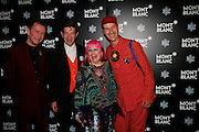 MICHAEL DAVIS, DUGGIE FIELDS, ZANDRA RHODES AND ANDREW LOGAN. Montblanc and Katherine Jenkins celebrate The launch of Montblanc's First Fine Jewellery Collectgion. V. & A. London. 24 April 2007.  -DO NOT ARCHIVE-© Copyright Photograph by Dafydd Jones. 248 Clapham Rd. London SW9 0PZ. Tel 0207 820 0771. www.dafjones.com.