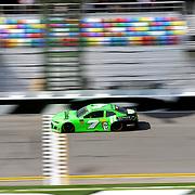 Danica Patrick, driver of the (7) GoDaddy Chevrolet crosses the finish line during practice for the 60th Annual NASCAR Daytona 500 auto race at Daytona International Speedway on Friday, February 16, 2018 in Daytona Beach, Florida.  (Alex Menendez via AP)