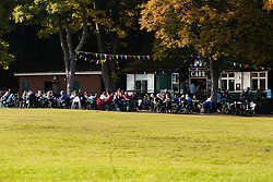 Customers enjoying one of the last warm days of 2012 throng the Cafe in Endcliffe park on a sunny autumn day in Sheffield <br /> 21 October 2012<br /> Image © Paul David Drabble