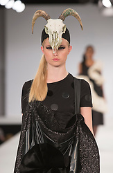 © Licensed to London News Pictures. 31/05/2015. London, UK. Collection by Alexandra Wall. Fashion show of UCA Epsom at Graduate Fashion Week 2015. Graduate Fashion Week takes place from 30 May to 2 June 2015 at the Old Truman Brewery, Brick Lane. Photo credit : Bettina Strenske/LNP
