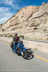 Fred Lange riding his 1929 Harley-Davidson JDH near Grand Junction, Colorado during Stage 10 (278 miles) of the Motorcycle Cannonball Cross-Country Endurance Run, which on this day ran from Golden to Grand Junction, CO., USA. Monday, September 15, 2014.  Photography ©2014 Michael Lichter.