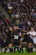 Twickenham. Surrey. UK England vs New Zealand, Autumn Internationals.<br /> <br /> 09/11/2002<br /> International Rugby England vs New Zealand [Mandatory Credit Peter SPURRIER/Intersport Images]<br /> 15  <br /> Jason Robinson<br /> 14  <br /> James Simpson-Daniel<br /> 13  <br /> Will Greenwood<br /> 12  <br /> Mike Tindall<br /> 11  <br /> Ben Cohen<br /> 10  <br /> Jonny Wilkinson<br /> 9  <br /> Matt Dawson<br /> 1  <br /> Trevor Woodman<br /> 2 <br /> Steve Thompson<br /> 3 <br /> Phil Vickery<br /> 4  <br /> Martin Johnson (c)<br /> 5 <br /> Danny Grewcock<br /> 6 F <br /> Lewis Moody<br /> 7  <br /> Richard Hill<br /> 8 <br /> Lawrence Dallaglio<br /> 16 <br /> Mark Regan<br /> 17 <br /> Jason Leonard<br /> 18  <br /> Ben Kay<br /> 19  <br /> Neil Back<br /> 20  <br /> Austin Healey<br /> 21  <br /> Ben Johnston<br /> 22 <br /> Tim Stimpson.<br /> <br /> New Zealand                         <br /> 15 <br /> Ben Blair<br /> 14  <br /> Doug Howlett<br /> 13  <br /> Tana Umaga<br /> 12  <br /> Keith Lowen<br /> 11  <br /> Jonah Lomu<br /> 10  <br /> Carlos Spencer<br /> 9  <br /> Steve Devine<br /> 1 P <br /> Joe McDonnell<br /> 2  <br /> Andrew Hore<br /> 3  <br /> Kees Meeuws<br /> 4 <br /> Ali Williams<br /> 5  <br /> Keith Robinson<br /> 6 F <br /> Taine Randell (c)<br /> 7  <br /> Marty Holah<br /> 8 <br /> Sam Broomhall<br />     Replacements<br /> 16 <br /> Keven Mealamu<br /> 17 <br /> Carl Hayman<br /> 18  <br /> Brad Mika<br /> 19 <br /> Rodney So'oialo<br /> 20  <br /> Danny Lee<br /> 21  <br /> Andrew Mehrtens<br /> 22 <br /> Mark Robinson