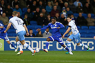 Junior Hoilett of Cardiff city ©  in action .EFL Skybet championship match, Cardiff city v Sheffield Wednesday at the Cardiff city stadium in Cardiff, South Wales on Wednesday 19th October 2016.<br /> pic by Andrew Orchard, Andrew Orchard sports photography.