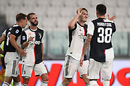 Juventus's Dutch defender Matthijs De Ligt celebrates with Italian midfielder Simone Muratore during the Serie A match at Allianz Stadium, Turin. Picture date: 26th June 2020. Picture credit should read: Jonathan Moscrop/Sportimage