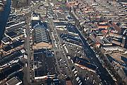 Nederland, Amsterdam, Amsterdam-West, 10-01-2009;;Jan van Galenstraat met de Groothandelsmarkt (Centrale Markthallen, Food Plaza) Oud-West, rechts de Frederik Hendrikbuurt; Jan van Galenstraat, Wholesale Market (Central Markthallen, Food Plaza),  to right Oud-West (Old West), Frederik Hendrik area;. .luchtfoto (toeslag); aerial photo (additional fee required); .foto Siebe Swart / photo Siebe Swart