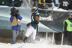 Philadelphia Eagles cornerback Bradley Fletcher #24 reacts after carrying the ball during the NFL game between the Detroit Lions and the Philadelphia Eagles on Sunday, December 8th 2013 in Philadelphia. This play was called back due to a dead ball. The Eagles won 34-20. (Photo by Brian Garfinkel)