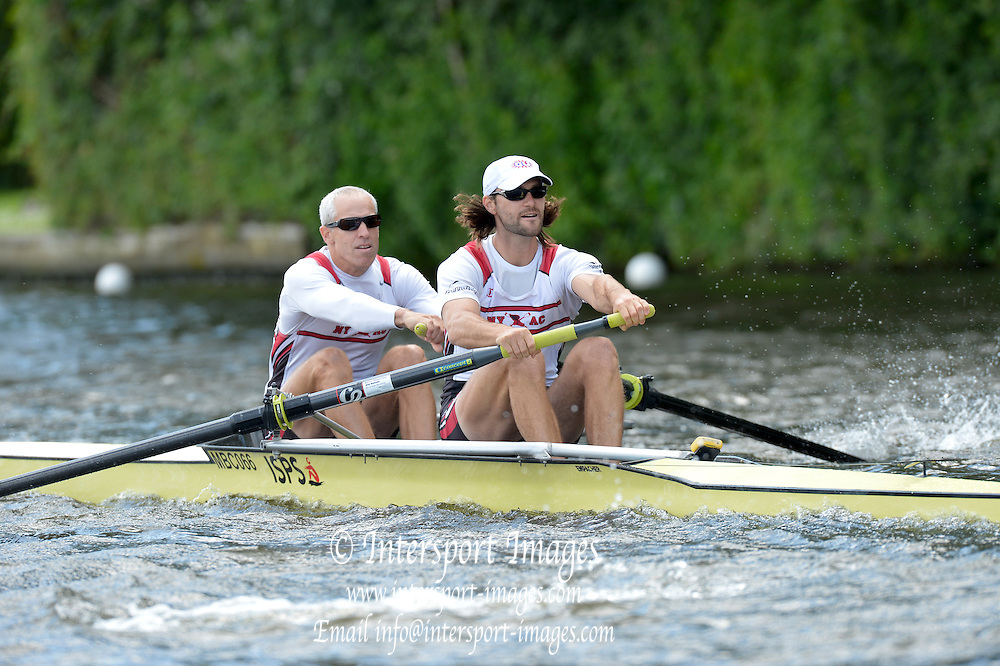 Henley, GREAT BRITAIN. Silver Goblets and Nickalls' Challenge Cup. New york Athletic Club, Bow Jamie KOVEN and Mike BLOMQUIST, at the start of their Saturday heat.  2012 Henley Royal Regatta.  ..Saturday  16:10:57  30/06/2012. [Mandatory Credit, Peter Spurrier/Intersport-images]...Rowing Courses, Henley Reach, Henley, ENGLAND . HRR.