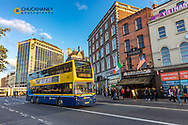 Double decker bus in downtown Dublin, Ireland