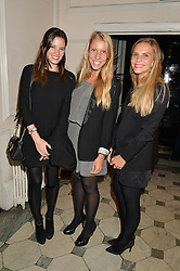 Left to right, ASTRID DE LA NOUE, STEPHANIE VAN GROENENDAEL and CARLIJN BARBANCE at a party to celebrate opening of Galerie Kreo in London held at Il Bottaccio, Grosvenor Place, London on 17th September 2014.