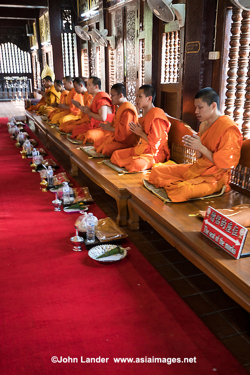Chanting Thai Monks at Wat Lok Moli - Traditionally many young Thai boys would become novice monks as a way for them to receive an education, especially in rural areas. As well as having a secular education, Nowadays most novice monks that you see in temples are boys who are orphans or their parents cannot afford to raise them.   However, most novices from all types of families and economic backgrounds do a stint for short period of time usually a few months.