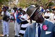 A group of older dancers and singers at the Lake of Stars music festival, Chinteche, Malawi.