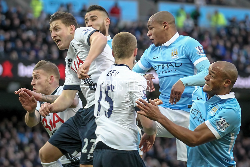 Kevin Wimmer (Tottenham Hotspur) watches as the ball goes towards the goal from a corner during the Barclays Premier League match between Manchester City and Tottenham Hotspur at the Etihad Stadium, Manchester, England on 14 February 2016. Photo by Mark P Doherty.