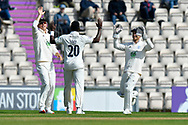 Wicket - Fidel Edwards of Hampshire celebrates taking the wicket of Harry Brook of Yorkshire during the Specsavers County Champ Div 1 match between Hampshire County Cricket Club and Yorkshire County Cricket Club at the Ageas Bowl, Southampton, United Kingdom on 11 April 2019.
