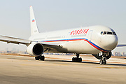 Israel, Ben-Gurion international Airport Rossiya passenger jet ready for takeoff