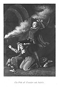 Chowles the coffin maker and Judith Malmayns the plague nurse, dying with their stolen treasure as they are overcome by smoke and molten lead from the burning Old Saint Paul's. Illustration by John Franklin (active 1800-1861) for William Harrison Ainsworth 'Old Saint Paul's', London 1855 (first published 1841). Engraving