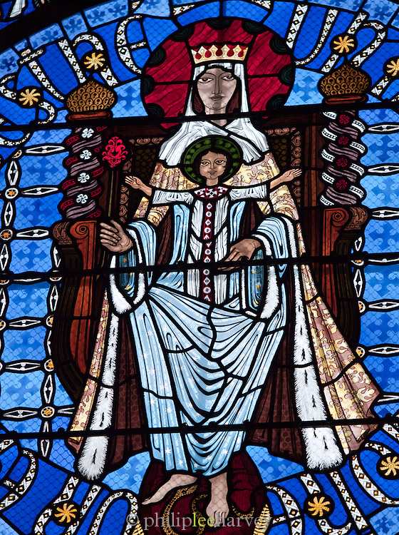 Stained glass window inside the Cathédrale Notre-Dame-de-l'Assomption de Clermont-Ferrand, Clermont-Ferrand, France